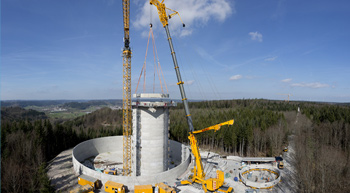 Liebherr mobile crane helping in world's tallest wind turbines erection